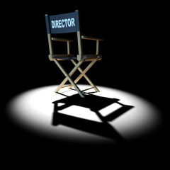 3d Behind the Directors chair under spotlight