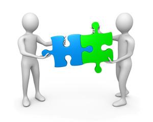 Association personnages 3d pièces puzzle symbole positif