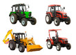 Tractors and bulldozer-excavator over white background
