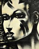 Fototapete Fassade - Gesicht - Graffiti