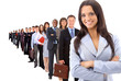 business woman and his team isolated over a white