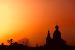 Silhouette of traditional Russian Church in ancient town Suzdal.