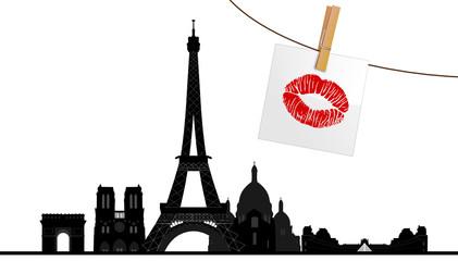 Paris mit Kussmund