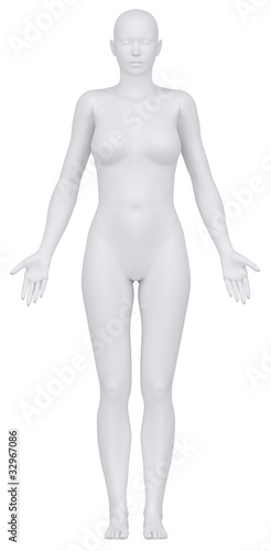 White female figure in anatomical position anterior view