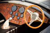 quality interior of a beautifully restored retro sports car poster