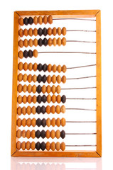 wooden abacus isolated on a white background