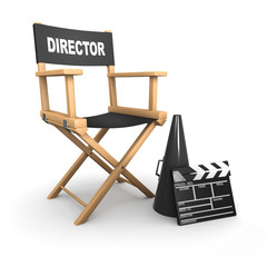 3d The film directors chair is empty