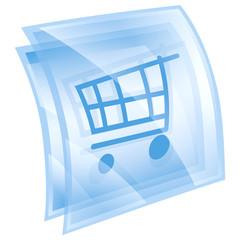 shopping cart icon blue, isolated on white background.