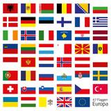 Fototapety Europa Flaggen Fahnen Set Buttons Icons Sprachen 8