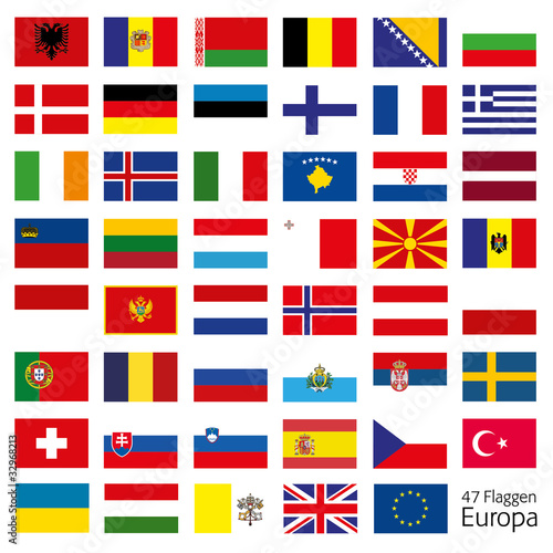 Europa Flaggen Fahnen Set Buttons Icons Sprachen 8