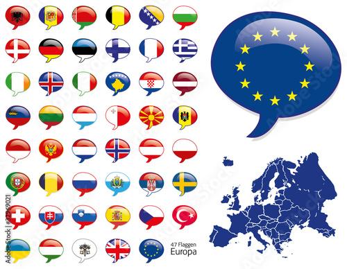 Europa Flaggen Fahnen Set Buttons Icons Sprechblase 2