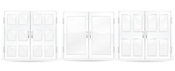 set of white windows isolated on white background