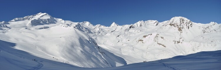 Panoramic stitch of winter landscape in high Val Martello
