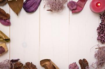 potpourri frame on wooden background