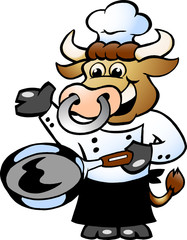 Bull Chef Cook holding a Pan