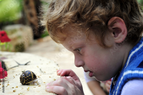 Boy considering the snail