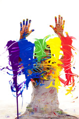 Artist painting hands up