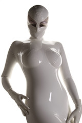White and Shiny Latex Rubber Catsuit with Mask