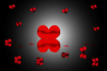 Abstract background with hearts and water
