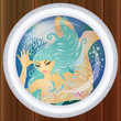 Mermaid underwater in porthole, vector illustration