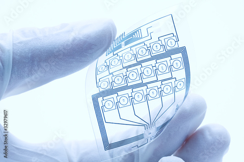 Leinwandbild Motiv Flexible printed electric circuit
