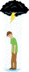 Sad guy beneath a rain cloud.