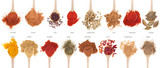 Spices collection on spoons - 32982812