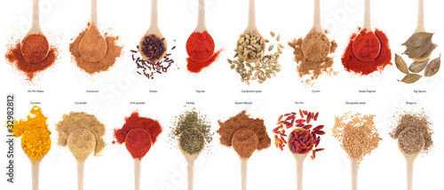canvas print picture Spices collection on spoons