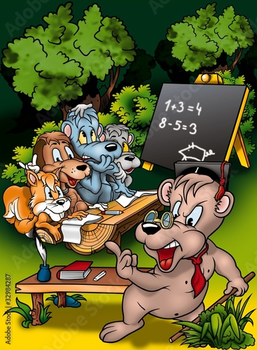 Foto op Canvas Bosdieren Animal Classroom - Cartoon Background Illustration