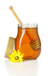 open honey jar with drizzler