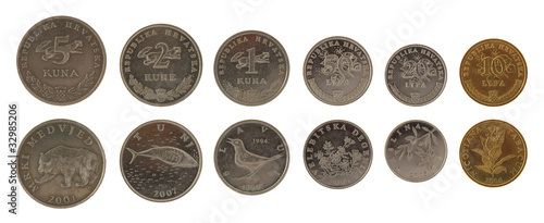 Croatian Coins Isolated on White