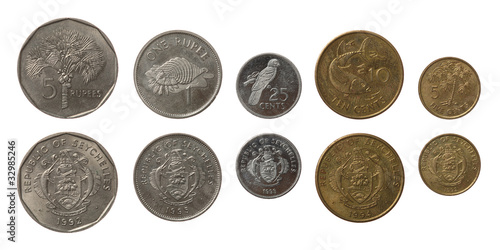 Seychellois Coins Isolated on White