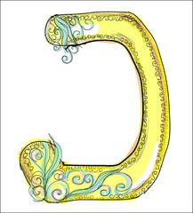 alphabet, golden  letter J