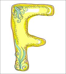 alphabet, golden  letter F