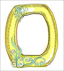 alphabet, golden  letter O