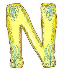alphabet, golden  letter N