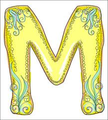 alphabet, golden  letter M