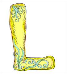 alphabet, golden  letter L