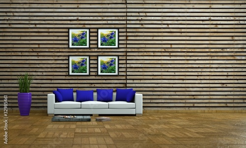 wohndesign weisses sofa vor holzwand von virtua73 lizenzfreies foto 32985461 auf. Black Bedroom Furniture Sets. Home Design Ideas