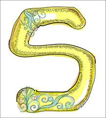 alphabet, golden  letter S