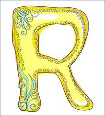 alphabet, golden  letter R