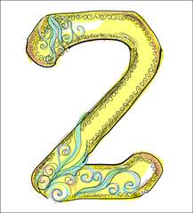alphabet, golden  letter Z