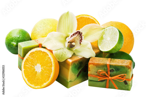 natural handmade soap and fruit