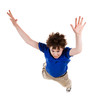 Boy jumping, isolated on white background