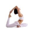 Yong woman exercise yoga pose - pigeon isolated