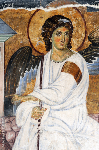 Leinwandbild Motiv White Angel or Myrrhbearers on Christ's Grave