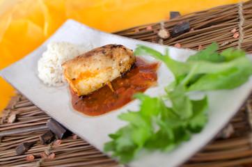 Hähnchenroulade Napoli mit Reis