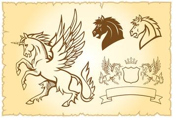 Winged mystery horse illustration