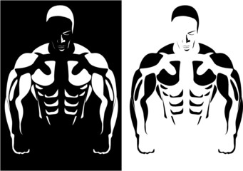 contour of the athlete on the black and white background. vector