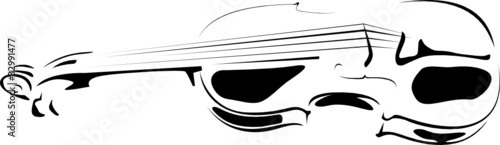 violin contour on white and on a black background